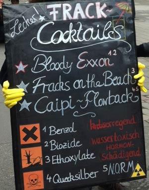 Liste mit Frakcking Cocktails